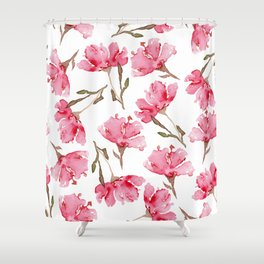 Abstract Digital Watercolor Painting Pink Carnation Blooms on White Pattern Shower Curtain