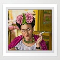 frida khalo Art Prints featuring Smokin' Frida  by Rush Humphrey