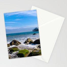 Pacific Pier | Malibu Ocean Scene Waves Tide Beach Art Print Tapestry Stationery Cards
