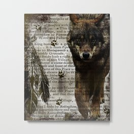Wildlife Series The Gray Wolf By Moon Willow Designs Metal Print