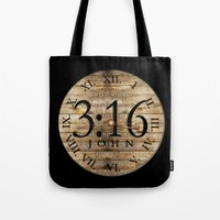bible verses Tote Bags featuring LOST VERSES FOUND by Miriam Hahn