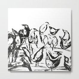 Birds white and black drawing illustration Metal Print