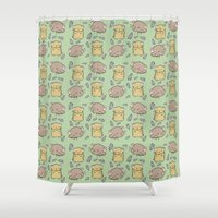 hamster Shower Curtains featuring Hamster Pattern by Noreen Torelli