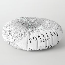 Portland Oregon Blue Water Street Map Floor Pillow