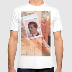 He Never Knew White Mens Fitted Tee MEDIUM
