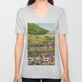 Cwm Parc, Treorchy, South Wales Valleys Unisex V-Neck