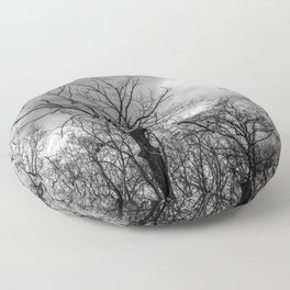 Witchy black and white tree Floor Pillow