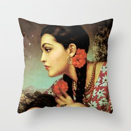 Mexican Calendar Girl in Profile by Jesus Helguera Throw Pillow