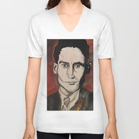 kafka V-neck T-shirts featuring Franz Kafka by Emily Storvold