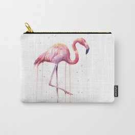 Pink Flamingo Portrait Watercolor Animals Birds | Facing Right Carry-All Pouch