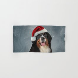 Bernese Mountain Dog in red hat of Santa Claus Hand & Bath Towel