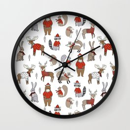 Christmas winter woodland animals foxes deer bunnies moose holiday cute design Wall Clock