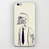 hipster iPhone & iPod Skins featuring The Gentleman becomes a Hipster  by Mike Koubou
