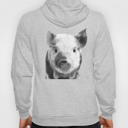Black and white pig portrait Hoody