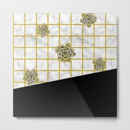 Succulents geometric composition - Black and Gold Metal Print
