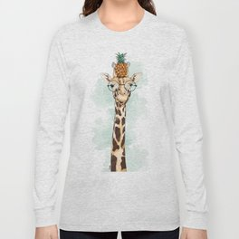 Intelectual Giraffe with a pineapple on head Long Sleeve T-shirt