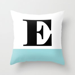 Monogram Letter E-Pantone-Limpet Shell Throw Pillow