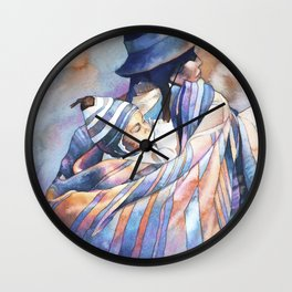 Watercolor painting of traditionally dressed Quechua woman in the Plaza de Armas- Cusco, Peru. Wall Clock