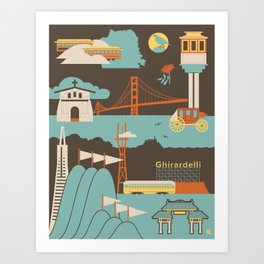 San Francisco Landmarks Pattern  Art Print
