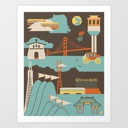 San Francisco Landmarks Pattern  Art Print