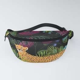 Jungle Cats, Tropical Night Floral Garden Fanny Pack