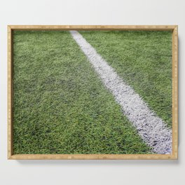 Sideline football field, Sideline chalk mark artificial grass soccer field Serving Tray