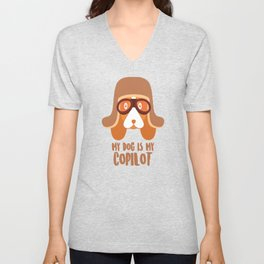 Dog Is My Copilot Funny Car and Dog Dachshund Weiner product Unisex V-Neck