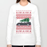 subaru Long Sleeve T-shirts featuring Happy Holidays - Subaru Christmas Sweater by E. Phillips - Creative Designer