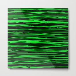 Lime Green and Black Stripes Metal Print