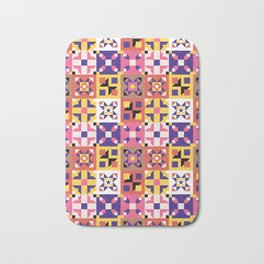 Maroccan tiles pattern with pink and purple no3 Bath Mat