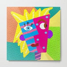 Faux-Clay Cubism Metal Print