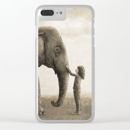 One Amazing Elephant - sepia option Clear iPhone Case