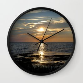 Watercolor Sunset, Janes Island 13, Maryland Wall Clock