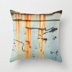Rust Streaks on Aqua Throw Pillow