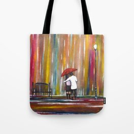 Love in the Rain romantic painting by Manjiri Kanvinde Tote Bag