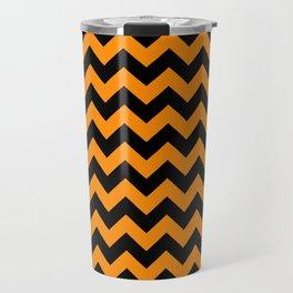 Large Black and Pumpkin Orange Halloween Chevron Stripes Travel Mug