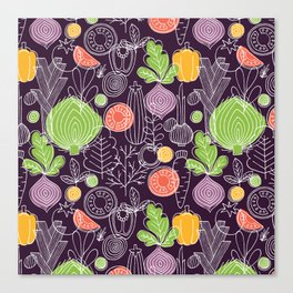 Vegetable Pattern Scandinavian Design Canvas Print