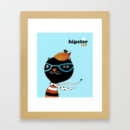 Hipster Cat Framed Art Print