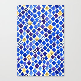 Rustic Watercolor Moroccan in Royal Blue & Gold Canvas Print