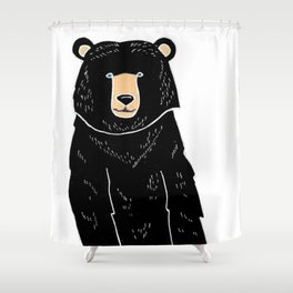 Friendly Black Bear Shower Curtain