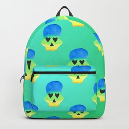 Colorful Skull with Heart Eyes Pattern over Blue Green Gradient Backpack