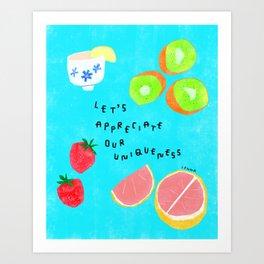 Fruits Appreciate Their Uniqueness - body positive self-love illustration Art Print