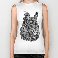 owl Biker Tanks featuring Owl by Feline Zegers
