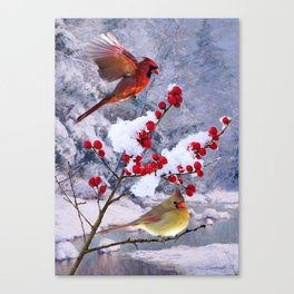 Red Birds of Christmas Canvas Print