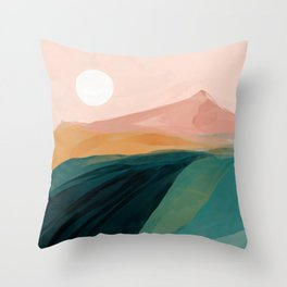 pink, green, gold moon watercolor mountains Throw Pillow