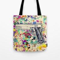 gun Tote Bags featuring Gun by Maressa Andrioli