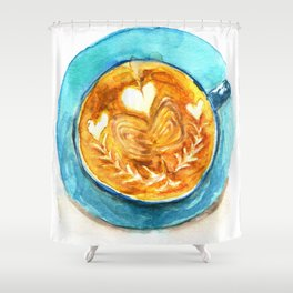A Latte Hearts Shower Curtain