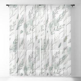 Modern botanical pastel green watercolor floral Sheer Curtain