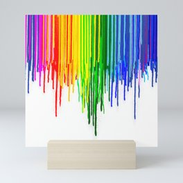Rainbow Paint Drops on White Mini Art Print