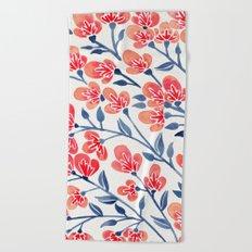 Cherry Blossoms – Melon & Navy Palette Beach Towel